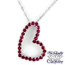 Real Red Ruby Heart Necklace, 28 Round Rubies, White Gold/Sterling Silver, 18""