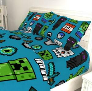 Minecraft Mob Fitted Sheet and Pillowcase Set Single/Double Size Matches Bedding