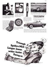 "1966 Triumph Spitfire Mk2 Convertible photo ""Longer Lower Faster"" print ad"