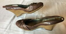 """American Eagle Brown Faux Leather Bow 3"""" Stacked Wedge Heels Pumps Women's Sz 10"""
