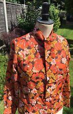 Vintage Retro 1970s Londonpride Original Orange Floral Pussy Bow Neck Shirt 12