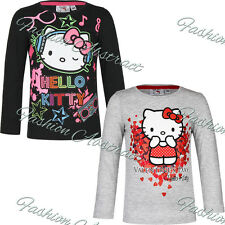New Hello Kitty Girls Official Long Sleeve T Shirt Top Kids 100% Cotton