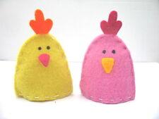 Gisela Graham Pascua Fieltro Tela rosada amarilla de huevos gallina acogedor X 2