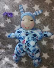 Sleeping Waldorf Baby Boy Doll - Hand Knitted Soft Toy - New Custom Crafted