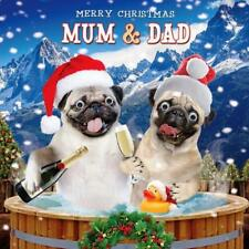 Mum & Dad Googlies Christmas Card Tracks Wobbly Eyes Greeting Cards