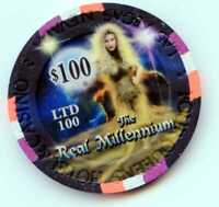$100.00 Chip. Four Queens Casino  Millennium Edition Las Vegas , Nevada.