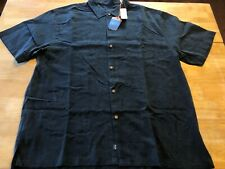 Tommy Bahama 2XL NWT $158 Black Silk Limbo Lounge S/S Button Up Shirt A05