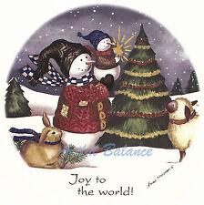 Ceramic Decals Joy To The World Snowman Child Tree Animals