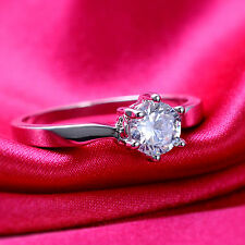 Fashion Jewelry White Sapphire 18K White Gold Filled Engagement Ring size 7