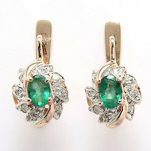 .30 CT DIAMOND AND 1.30 CT EMERALD RUSSIAN STYLE EARRINGS 14K Rose & White Gold