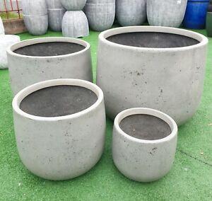 Outdoor Garden Patio Round Planter Modstone Odyssey Drum Pot Steel Grey