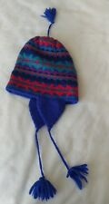 Vintage LL Bean Unisex Hat Youth Child Ear Flaps Knit Tassels Blue Red Green