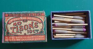 Boites d'allumettes 40 TISONS 10 centimes manufactures de l'Etat