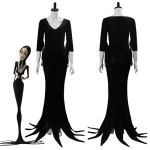 The Addams Family Morticia Addams Cosplay Costume Halloween Uniform Suit Dress