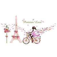 DIY Repositionable Flower Fairy Tale Eiffel Tower Bike Wall Sticker House Decor