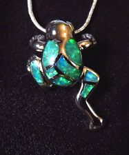 Sterling 925 Silver SF Pendant & Necklace Green Lab Fire Opal FROG 1""