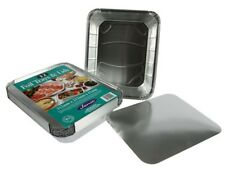 12 Extra Large Aluminum Tin Foil Cooking Trays With Lid Disposable Food Storage