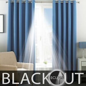 CLEARANCE ECLIPSE Plain Blackout Ready Made Eyelet Header Lined Curtains BLUE