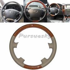 03-07 Toyota Land Cruiser FJ100 4700 Hiace 200 Leather Wood Steering Wheel Cover