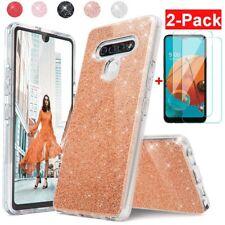 For LG K51/Q51/Reflect Case Shockproof Glitter Bling Hybrid Cover+Tempered Glass