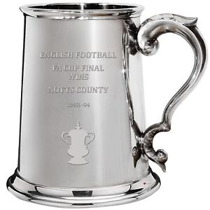 Notts County English FA Cup Winner 1pt Pewter Tankard Gift
