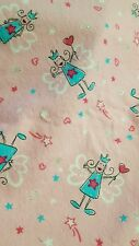 1 3/4 yards of flannel  fabric by  Joann Fabrics  pink / blue Angeles