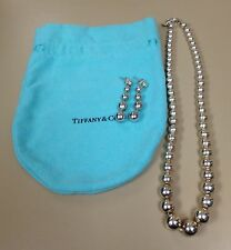 "Genuine Tiffany 925 Silver Graduated Bead 16"" Necklace with Matching Earrings"