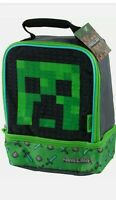 Minecraft School Soft Insulated Dual Lunch Box Tote Kit Bag Boys Kids
