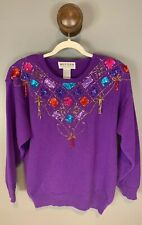 VTG Western Connection Medium Sweater Tassel Embellished Beads Sequins Purple