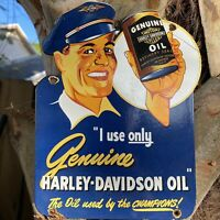 VINTAGE HARLEY DAVIDSON MOTORCYCLE OIL PORCELAIN SIGN USA LUBE CAN GAS STATION