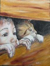 Tableau original de Caillon 35x27 enfant chat toile peinture animal oil on canva