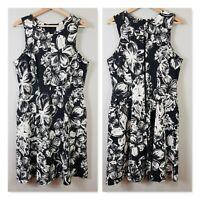 [ VERONIKA MAINE ] Womens Floral Print Black & white Dress | Size AU 16 or US 12