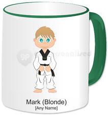 Personalised Martial Arts Mug- Tae Kwon Do Boy- Green Handle