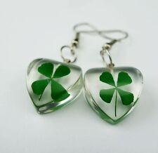 Shamrock Four Leaf Clover Lucite Heart Love Earring