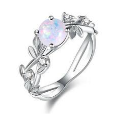 New Silver Round Cut White imitation Opal Leaf CZ Rings Women Jewelry Size 8