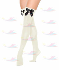 Womens Stocking With Bow Thigh High Hold Up Ladies Stockings Fancy Dress Costume