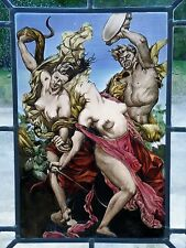 "Stained Glass Window Image Glass Painting Motif of Antiquity ""Amazons in Combat"""