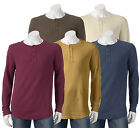 New Sonoma Men's Solid Thermal Henley Assorted Colors Size M to 2XL MSRP $34