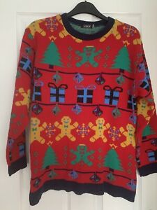 LADIES MULTI THEMED CHRISTMAS JUMPER TOP UK SIZE 14-16 GOOD CONDITION
