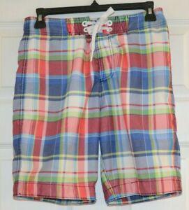 Boys Kids Abercrombie Fitch Lined Blue Red Plaid Swim Trunks Suit size L Large