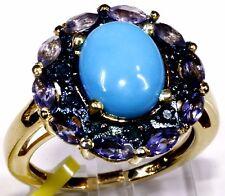 Arizona Sleeping Beauty Turquoise, Diamond Ring Sterling Silver (Size 7) 4.1 Cts