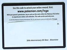 Pokemon Card - 20st Anniversary - EX Box - Blastoise Code Card  TCG