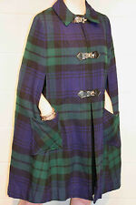 S~M Blackwatch Plaid Amana Woolen Mills Vtg 60s Lined Wool Cape Pockets Coat
