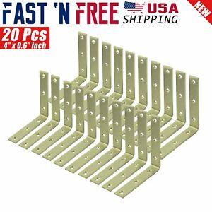 "20 Pcs 4"" inch Heavy Duty L Shape Corner Brace Angle Repair Bracket w/Screws Bul"