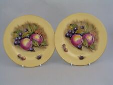 """AYNSLEY ORCHARD GOLD/FRUIT 6 1/4"""" TO 6 3/8"""" SIDE PLATES, SIGNED D JONES."""