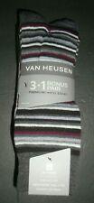 New Van Heusen Men's Premium Fashion Dress Socks 4 Pair Stripe Solid Black Gray
