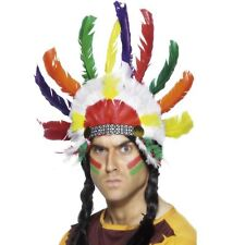 Adults Native American Brave Red Indian Feather Headdress Fancy Dress Accessory
