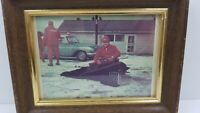 Vintage Bear Hunting Photograph Hunters Old Time Car Automobile Cain Decor S5