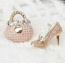Pink Asymmetrical Shoe Stiletto High Heel Purse Handbag Earrings Stud
