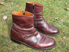 E.T. WRIGHT BOOTS 9 1/2 3E PULL-ON-ZIP-UP BIKER BOOTS USA VINTAGE ANKLE BOOTS